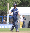 Craig Wallace raises his bat for his third ODI half-century, Scotland v Zimbabwe, 1st ODI, Edinburgh, June 15, 2017
