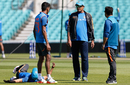 India head coach Anil Kumble has a chat with Hardik Pandya, London, India v Pakistan, Final, Champions Trophy 2017