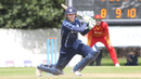 Michael Leask drives down the ground to reach 50, Scotland v Zimbabwe, 1st ODI, Edinburgh, June 15, 2017