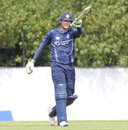 Michael Leask raises his bat after reaching his half-century, Scotland v Zimbabwe, 1st ODI, Edinburgh, June 15, 2017