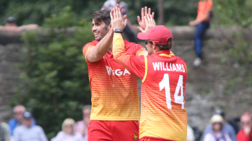 Graeme Cremer celebrates after winning an lbw appeal to claim Richie Berrington's wicket