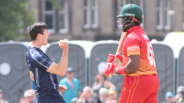 Chris Sole erupts after Hamilton Masakadza is caught at backward point
