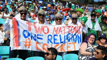 Fans enjoy the Champions Trophy final between India and Pakistan