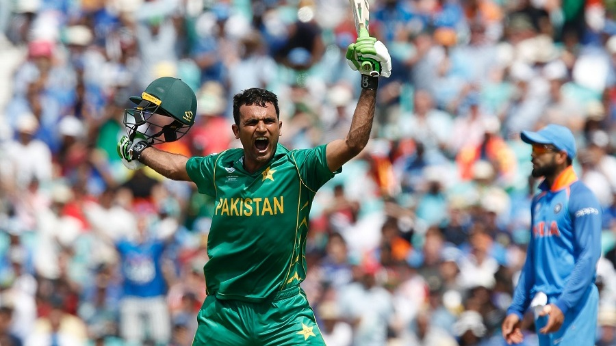 Fakhar Zaman exults after reaching his century