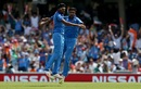 Jasprit Bumrah and R Ashwin do a chest bump to celebrate Azhar Ali's run out, India v Pakistan, Final, Champions Trophy 2017, The Oval, London, June 18, 2017