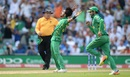 Hasan Ali throws his arms back triumphantly to celebrate a wicket, India v Pakistan, Final, Champions Trophy 2017, The Oval, London, June 18, 2017