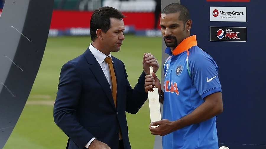 Shikhar Dhawan receives the golden bat award from Ricky Ponting, India v Pakistan, Final, Champions Trophy 2017, The Oval, London, June 18, 2017