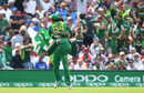 Imad Wasim and Sarfraz Ahmed celebrate the wicket of MS Dhoni, India v Pakistan, Final, Champions Trophy 2017, The Oval, London, June 18, 2017
