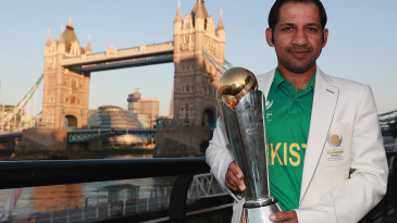 Pakistan captain Sarfraz Ahmed with the Champions Trophy on the morning after the final