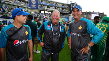 Pakistan's coaching staff - Shane Hayes, Steve Rixon and Mickey Arthur - enjoy the moment