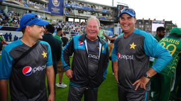 Pakistan's coaching staff - Shane Hayes, Steve Rixon and Mickey Arthur - enjoy the moment