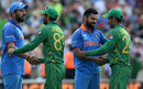 Junaid Khan and Shadab Khan shake hands with Yuvraj Singh and Virat Kohli, India v Pakistan, Champions Trophy, final, The Oval, London, June 18, 2017