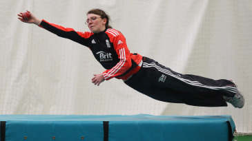 Beth Langston takes a diving catch at training