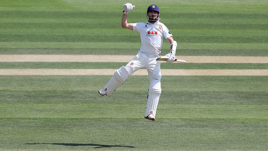 James Foster jumps for joy on reaching his hundred