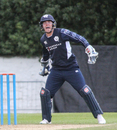 Matthew Cross celebrates after taking a sharp catch standing up to the stumps, Scotland v Zimbabwe, 1st ODI, Edinburgh, June 15, 2017