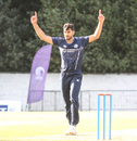 Safyaan Sharif holds his arms aloft after taking the final wicket, Scotland v Zimbabwe, 1st ODI, Edinburgh, June 15, 2017