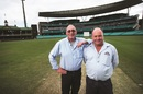 Outgoing SCG curator Tom Parker (left) with Allianz Stadium curator Michael Finch, Sydney, June 21, 2017