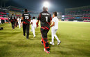 Ryan Campbell walks out with his team, Hong Kong v Scotland, Group B, World T20, Nagpur, March 12, 2016