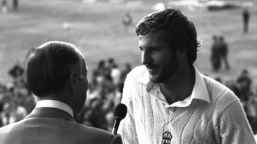 Ian Botham is interviewed after the match