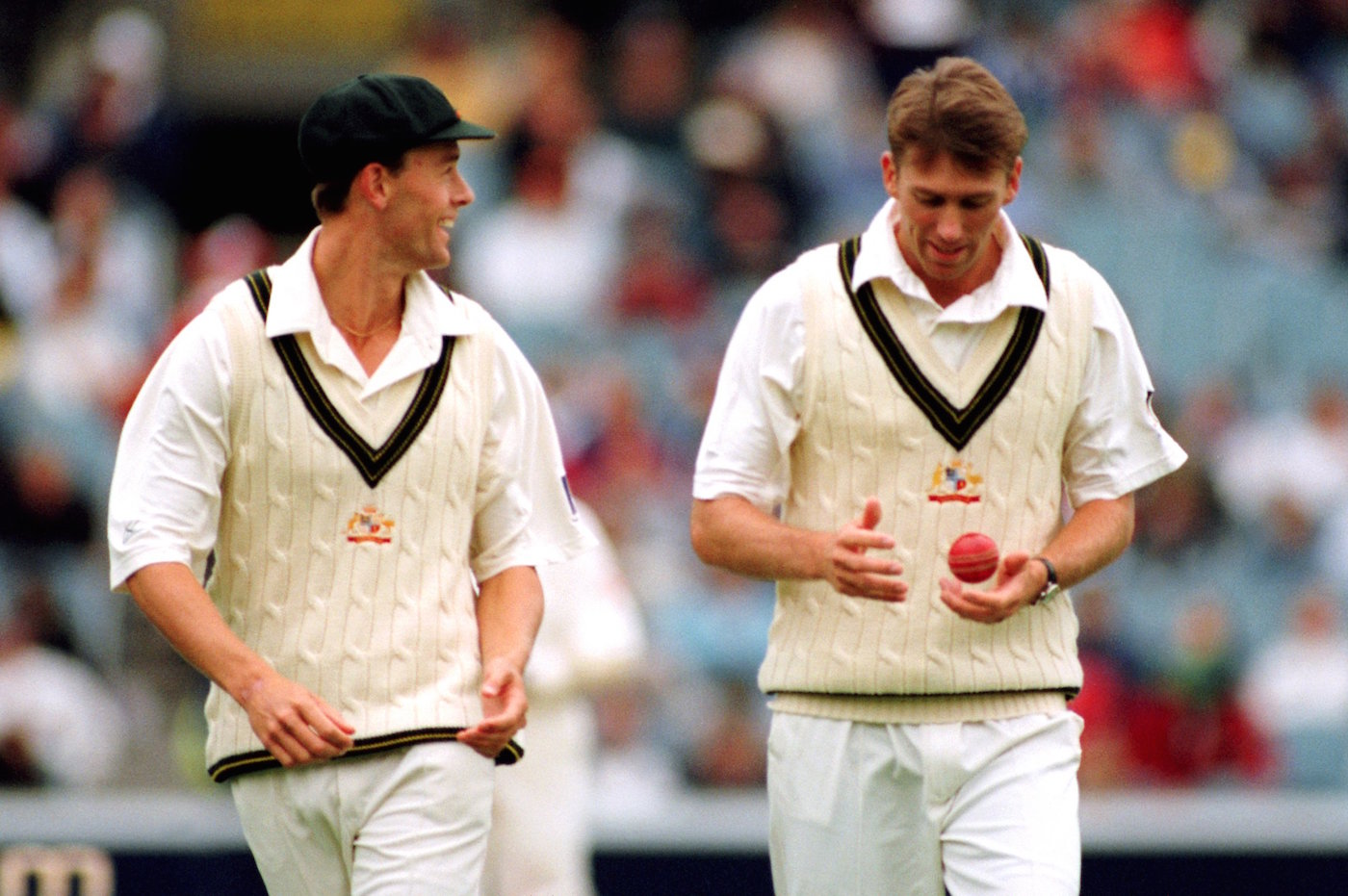 Mixing it with the stars: Nicholson shares a laugh with McGrath