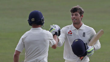 Ben Foakes celebrates reaching his hundred for England Lions