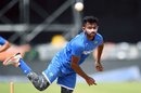 Devendra Bishoo sends down a delivery during a training session on the eve of the first ODI against India, Port of Spain, June 22, 2017