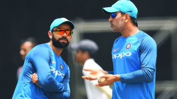 MS Dhoni and Virat Kohli have a chat at the nets session