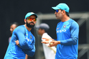 MS Dhoni and Virat Kohli have a chat at the nets session, Port of Spain, June 22, 2017