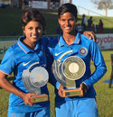Punam Raut and Deepti Sharma with trophies at the end of the Women's Quadrangular Series final, South Africa v India, Women's Quadrangular Series, final, Potchefstroom, May 21, 2017