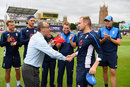 David Lloyd has a cap and a handshake for debutant Liam Livingstone, England v South Africa, 2nd T20I, Taunton, June 23, 2017