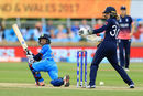 Punam Raut sweeps during her half-century, England v India, Women's World Cup, Derby, June 24, 2017