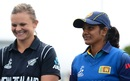 The two captains - Suzie Bates and Inoka Ranaweera - share a light moment, New Zealand v Sri Lanka, Women's World Cup, Bristol, June 24,2017