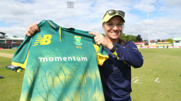 Former South Africa captain Mignon du Preez proudly displays her jersey