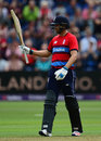 Dawid Malan raises his bat on reaching fifty, England v South Africa, 3rd T20I, Cardiff, June 25, 2017