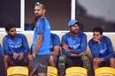 India's players wait for the rain to abate, West Indies v India, 2nd ODI, Port-of-Spain, June 25, 2017