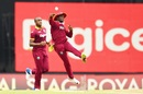 Jonathan Carter releases the ball, West Indies v India, 2nd ODI, Port-of-Spain, June 25, 2017