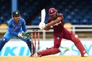 Shai Hope prepares to launch a big hit, West Indies v India, 2nd ODI, Port-of-Spain, June 25, 2017