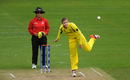 Jess Jonassen in her follow through, West Indies v Australia, Women's World Cup, Taunton, June 26, 2017