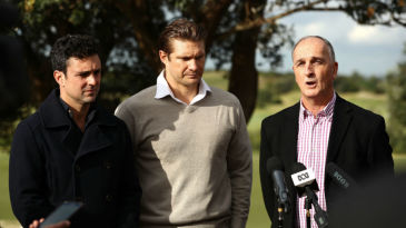 Ed Cowan, Shane Watson and ACA President Greg Dyer at an ACA event in Sydney