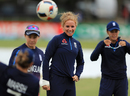 Lauren Winfield took part in England's warm-up session sporting a heavily-bandaged wrist, England v Pakistan, Women's World Cup, Leicester, June 27, 2017