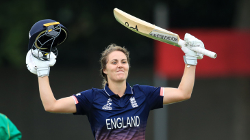 Natalie Sciver exults after bringing up her maiden ODI century off only 76 balls