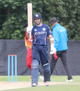 Kyle Coetzer raises his bat for his eighth ODI half-century, Scotland v Zimbabwe, 2nd ODI, Edinburgh, June 17, 2017