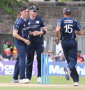 Chris Sole celebrates after removing Solomon Mire, Scotland v Zimbabwe, 2nd ODI, Edinburgh, June 17, 2017