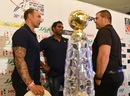 Nic Pothas, Angelo Mathews and Heath Streak chat at a press conference, Colombo, June 28, 2017