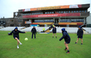 The New Zealand players indulge in some football on a sodden outfield during the rain delay, New Zealand v South Africa, Women's World Cup, Derby, June 28, 2017