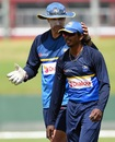 Nic Pothas, Sri Lanka's interim coach, with Lakshan Sandakan during a training session, Galle, June 29, 2017