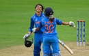 Smriti Madhana celebrates her century with Mona Meshram, India v West Indies, Women's World Cup, Taunton, June 29, 2017