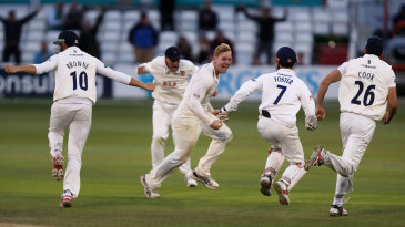Essex celebrate Simon Harmer's ninth wicket - and a dramatic victory