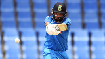 Yuvraj Singh extends his arms to middle a pull shot