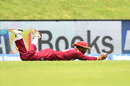 Devendra Bishoo took a diving catch on the point boundary to send back Ajinkya Rahane, West Indies v India, 3rd ODI, Antigua, June 30, 2017